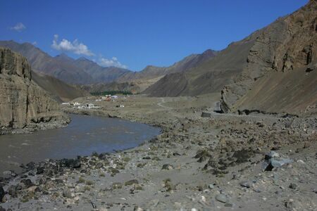Road and village in Indus river valley  photo