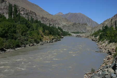 Indus river valley in the mountains of Ladakh