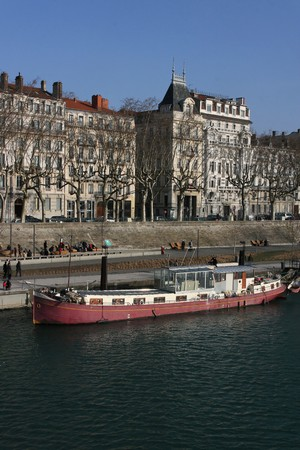 rhone: Barge on Rhone river Stock Photo