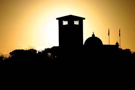 robben island: Sunset on jail of Robben Island Stock Photo