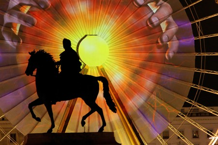 The annual Festival of lights shows in Place Bellecour, December 5, 2009, in Lyon, France Editorial