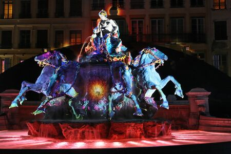 LYON, FRANCE - DECEMBER 9 : The annual festival of Lights takes place in the streets of the city of Lyon