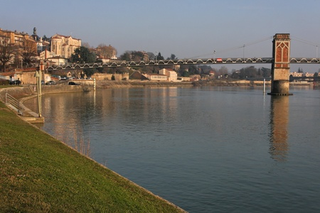 Trevoux and Saone river Stock Photo