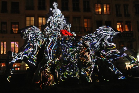 LYON, FRANCE - DECEMBER 8 : The annual Festival of Lights takes place in the monuments of the city of Lyon, on December 8, 2011 in Lyon, France