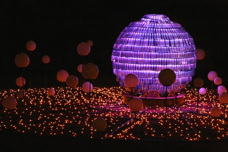 LYON, FRANCE - DECEMBER 9 : The annual Festival of Lights takes place in the streets of the city of Lyon, on December 9, 2011 in Lyon, France Editorial