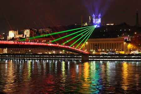 LYON, FRANCE - DECEMBER 10 : The annual Festival of Lights takes place in the streets of the city of Lyon, on December 10, 2011 in Lyon, France