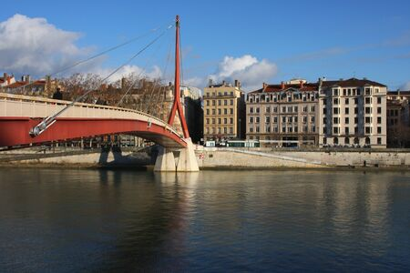 Footbridge over Saone River in Lyon Stock Photo - 12634232