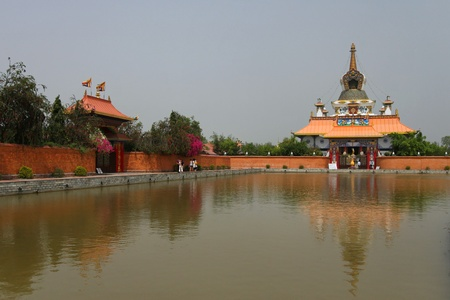 Lake and temples in Lumbini, Nepal