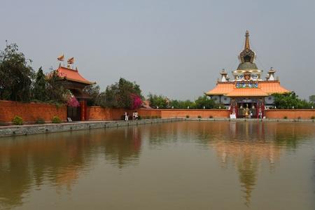 Lake and temples in Lumbini, Nepal