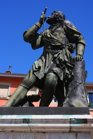 reproach: Statue of a French soldier, known as the Chevalier de Bayard, who has been known as  the knight without fear and beyond reproach  Stock Photo