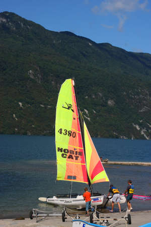 hobie: AIX-LES-BAINS, FRANCE - AUGUST 7,The Sailing school allows the young people to discover sailing on the biggest natural lake of France during all summer Editorial