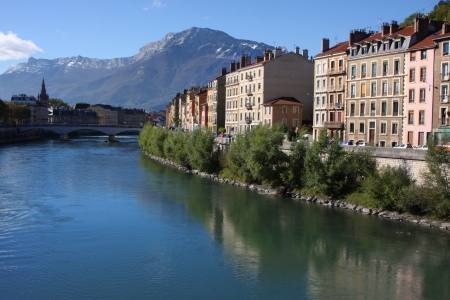 Isere river in Grenoble and Vercors mountains