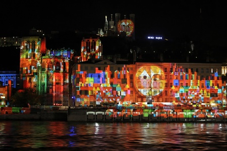 LYON, FRANCE - DECEMBER 6 : Festival of Lights in the streets of Lyon on December 6, 2012 in Lyon, France. The Festival of Lights expresses gratitude toward Mary, mother of Jesus around December 8 of each year