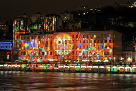 each year: LYON, FRANCE - DECEMBER 7 : Festival of Lights in the streets of Lyon on December 7, 2012 in Lyon, France. The Festival of Lights expresses gratitude toward Mary, mother of Jesus around December 8 of each year Editorial