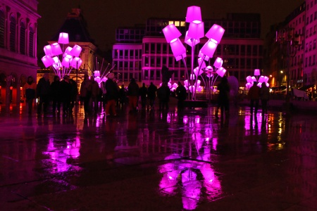 LYON, FRANCE - DECEMBER 7 : Festival of Lights in the streets of Lyon on December 7, 2012 in Lyon, France. The Festival of Lights expresses gratitude toward Mary, mother of Jesus around December 8 of each year Editorial