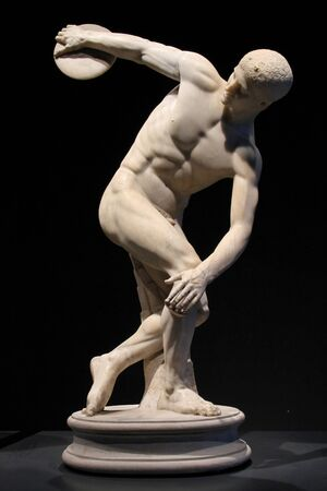 ancient olympic games: Rome, Palazzo Massimo, Roman Museum : Discobolus statue, on April 5, 2013