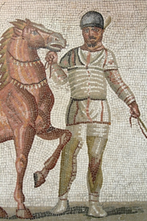 Rome, Palazzo Massimo, Roman Museum : One of the Quattro Aurighe Mosaic, on April 5, 2013
