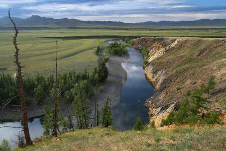Orkhon river gorges at sunset