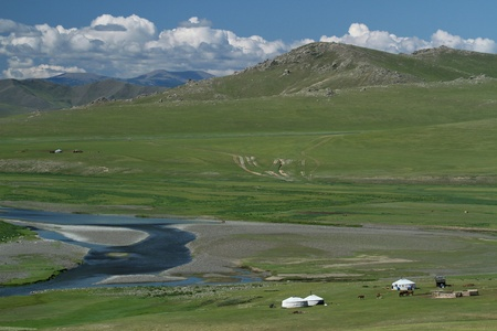 Mongolian steppe landscape in Orkhon valley