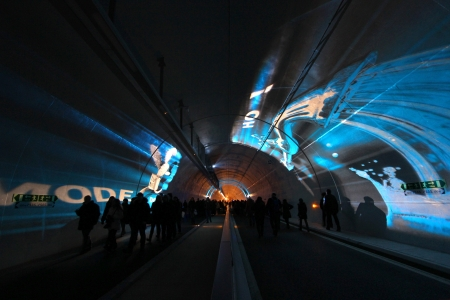 LYON, FRANCE, DECEMBER 7   Festival of Lights takes place in the new pedestrian tunnel, on December 7, 2013 in Lyon, France  This is the newly opened additional way for public transports and pedestrians