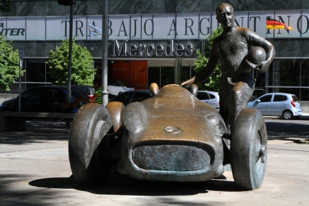 BUENOS AIRES, ARGENTINA, DECEMBER 22   Statue of Juan Manuel Fangio, on December 22 in Buenos Aires, Argentina  Fangio was the most famous racing driver in the world