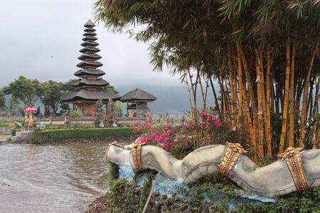 bratan: Ulun Danu  temple and Bratan lake in Bedugul Stock Photo