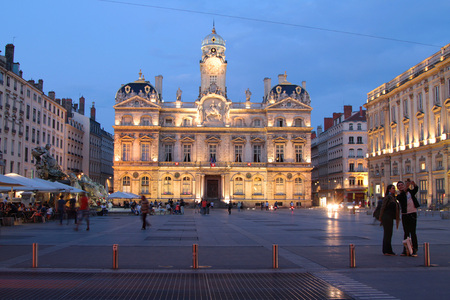 LYON, FRANCE, JULY 26, 2014 : Place des Terreaux and city hall at the blue hour.  The place belongs to the zone classified as a World Heritage Site by UNESCO.