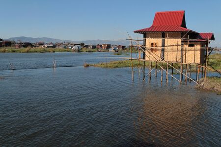 est: A brand new house on Inle Lake Editorial