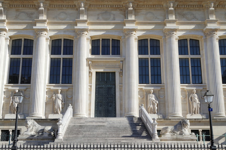 jurisdiction: PARIS, FRANCE, March 12, 2015 : Palais de Justice. Among the oldest surviving buildings of the former royal palace, justice of the state has been dispensed here since medieval times.