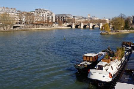 ile de la cite: PARIS, FRANCE, March 12, 2015 : The Pont Neuf is the oldest standing bridge across the river Seine in Paris.It stands by the western point of the Ile de la Cite, the island that was the heart of medieval Paris.