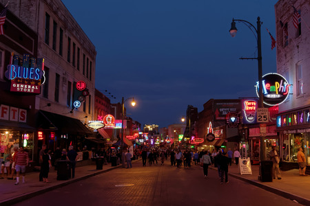 MEMPHIS TENNESSEE May November 2015: City neon lights on Beale Street. Blues clubs and restaurants That Line Beale Street are major tourist attractions in Memphis.