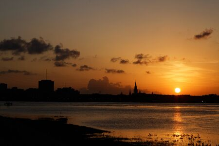 Sunset on Mississipi river in New Orleans Stock Photo