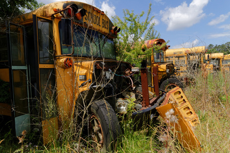 abandonment: NATCHEZ MISSISSIPPI May 7 2015 : School bus cemetery. School buses provide an estimated 10 billion student trips every year. Editorial