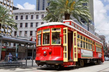 NEW ORLEANS LOUISIANA May 5 2015 : Streetcars in New Orleans Louisiana have been an integral part of the citys public transportation network since the first half of the 19th century.