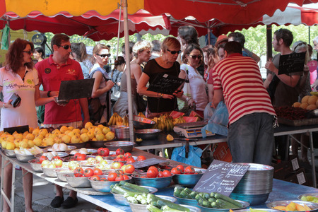 fruit trade: LYON FRANCE June 7 2015 : Sunday morning market on the Saone River banks in Lyon