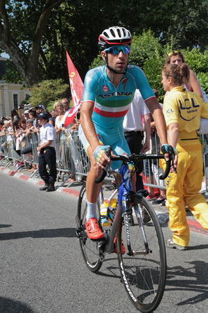 depart: PAU, FRANCE, July 15, 2015 : Italian runner and former winner of the race, Vincenzo Nibali in the Village Depart of the Tour de France cyclist race.