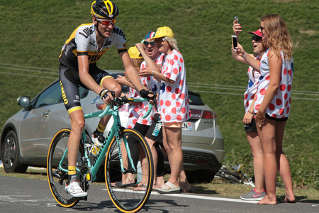 robert: PIERRE SAINT-MARTIN, FRANCE, July 14, 2015 : Dutch profesionnal cyclist Robert Gesink leads the 10th stage of Tour de France in the last climb to Pierre Saint-Martin. Editorial