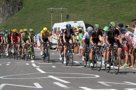 PIERRE SAINT-MARTIN, FRANCE, July 14, 2015 : The main peloton of favorites pursues the leaders in the last climb of the 10th stage of Tour de France to Pierre Saint-Martin.