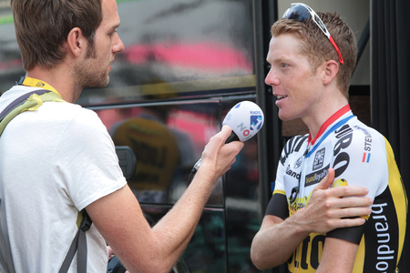 depart: PAU, FRANCE, July 15, 2015 : Interview of Steven KRUIJSWIJK in the Village Depart of the Tour de France cyclist race. Editorial