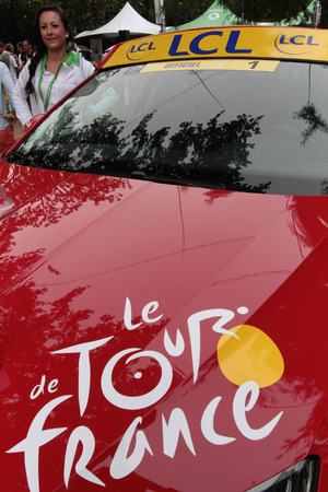 depart: PAU, FRANCE, July 15, 2015 : Car of Director of the Tour de France cyclist race, in the Village Depart.