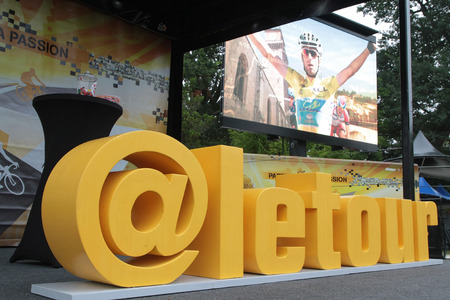 to depart: PAU, FRANCE, July 15, 2015 : The Village Depart of the Tour de France cyclist race.