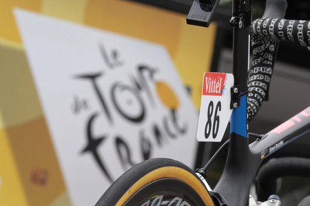 depart: PAU, FRANCE, July 15, 2015 : Numbers on the runners bikes in the Village Depart of the Tour de France cyclist race. Editorial