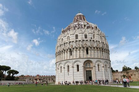 miracoli: PISA, ITALY, September 15, 2015 : Pisa Baptistry of St. John on Piazza dei Miracoli. Piazza del Duomo is a wide walled area located in Pisa, recognized as one of the finest architectural complexes in the world. Editorial