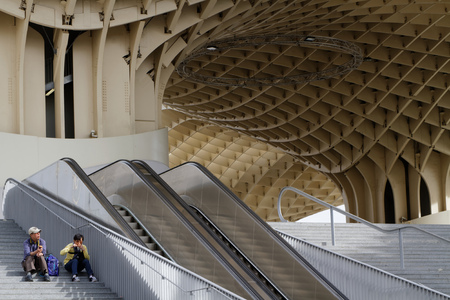 metropol parasol: SEVILLE, SPAIN, October 23, 2015 : Metropol Parasol is a wooden structure designed by the German architect Mayer-Hermann and completed in April 2011. The building is popularly known as Las Setas de la Encarnacin.