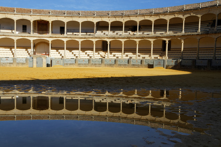 corrida: RONDA, SPAIN, October 22, 2015 : The Plaza de toros de Ronda, built in 1774, is the oldest bullfighting ring in Spain. Corrida involves professional toreros who execute various formal moves. Editorial