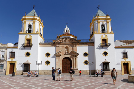 RONDA, SPAIN, October 22, 2015 : Church on the main place of Ronda. American artists Ernest Hemingway and Orson Welles spent many summers in Ronda as part-time residents.