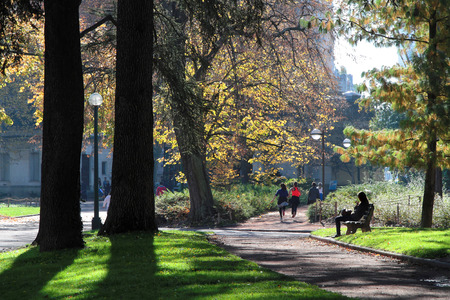 LYON, FRANCE, November 7, 2015 : Parc de la Tete dOr, in Lyon, is one of the greatest urban park in Europe and many inhabitants have a walk or trains running among more than 8000 trees.