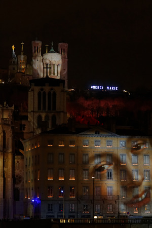 replaced: LYON, FRANCE, December 8, 2015 : The traditional festival of the lights, cancelled after the attacks of Paris, is replaced by a tribute in light to the victims.