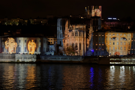 tribute: LYON, FRANCE, December 8, 2015 : With numerous small lights, the festival of lights 2015 pays tribute to the victims of the attacks of November in Paris.