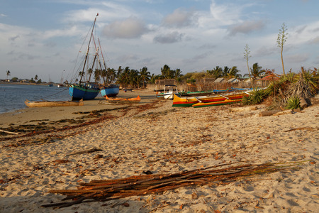 outrigger: BELO, MADAGASCAR, November 23, 2015 : Traditional pirogues on the beach. The outrigger canoes are used by Vezo fishermen, a semi-nomadic coastal people of southern Madagascar. Editorial